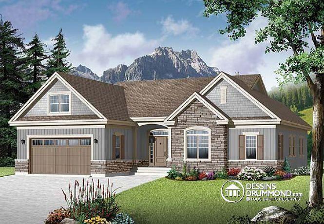 W3226 v2 maison style am ricaine 2 3 chambres bureau for Plan des maison style americain