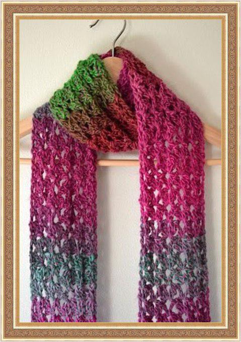 Delicadezas en crochet Gabriela: Bufanda realizada con lana matizada ...