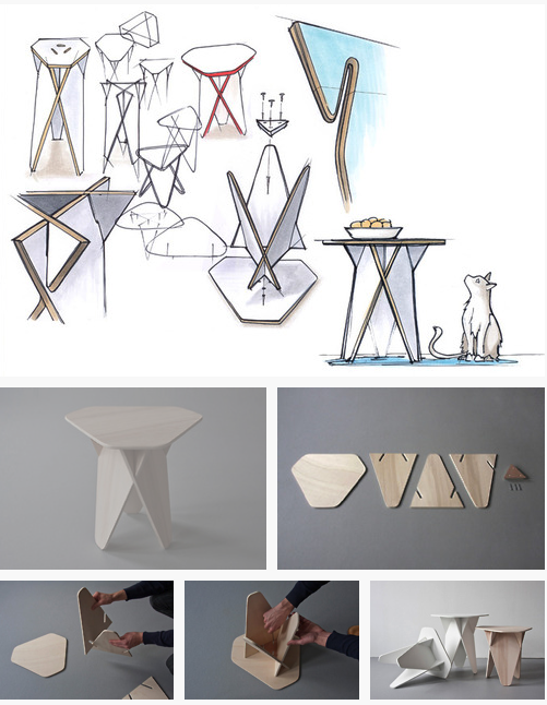 The idea of the wedge table was to create furniture that for Furniture that can be disassembled