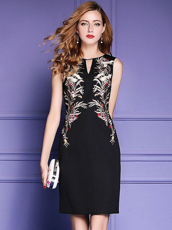 Sexy V-Neck Sleeveless Embroidery Slim Dress   VESTIDOS   Pinterest ...