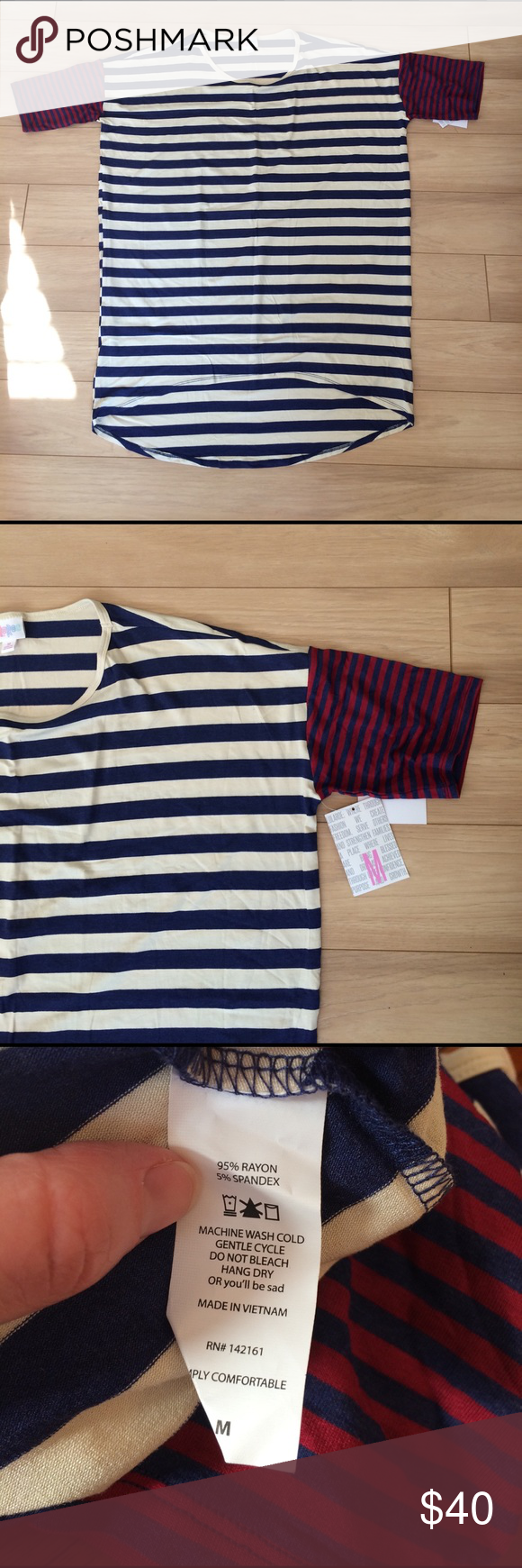 NWT LulaRoe Irma Tunic Blue and cream stripes on the body with smaller red and blue stripes on the sleeves. Perfect for a Rangers game! I thought it was purple and white with pink and purple sleeves when I ordered it.  LuLaRoe Tops Tunics