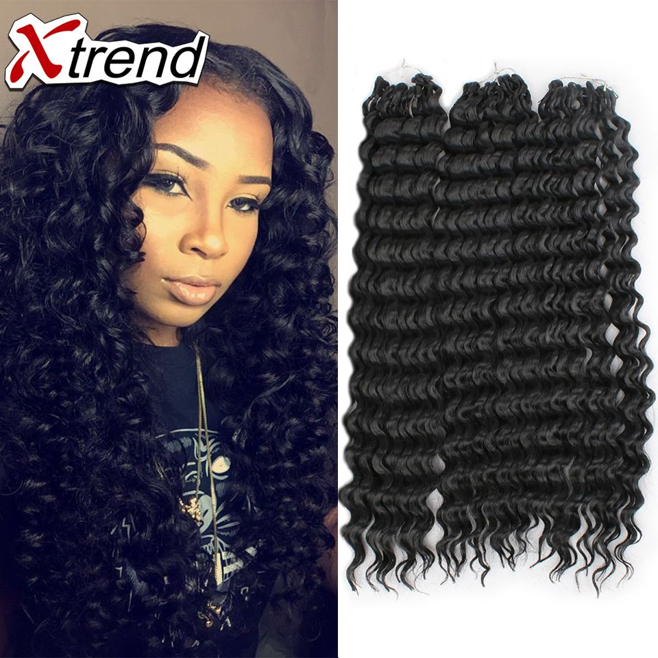 18 75g 15roots Deep Wave Synthetic Hair Bundles Brazilian Curly Extension