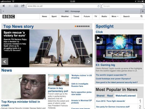 """El rescate (a la banca española) y cita de Rajoy: """"una victoria para el euro"""" / portada de la web de la BBC"""