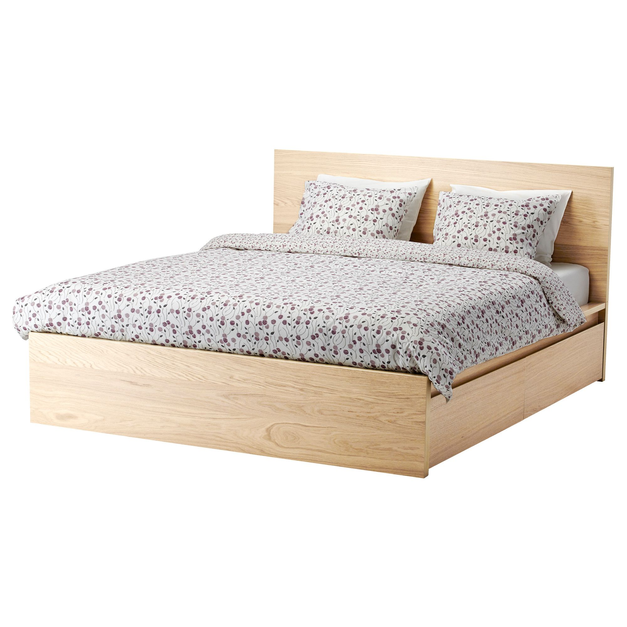 Ikea Malm High Bed Frame 2 Storage Boxes Queen Luroy The 2 Large Drawers On Casters Give You An Extra Storage Spa Malm Bed Malm Bed Frame Ikea Malm Bed