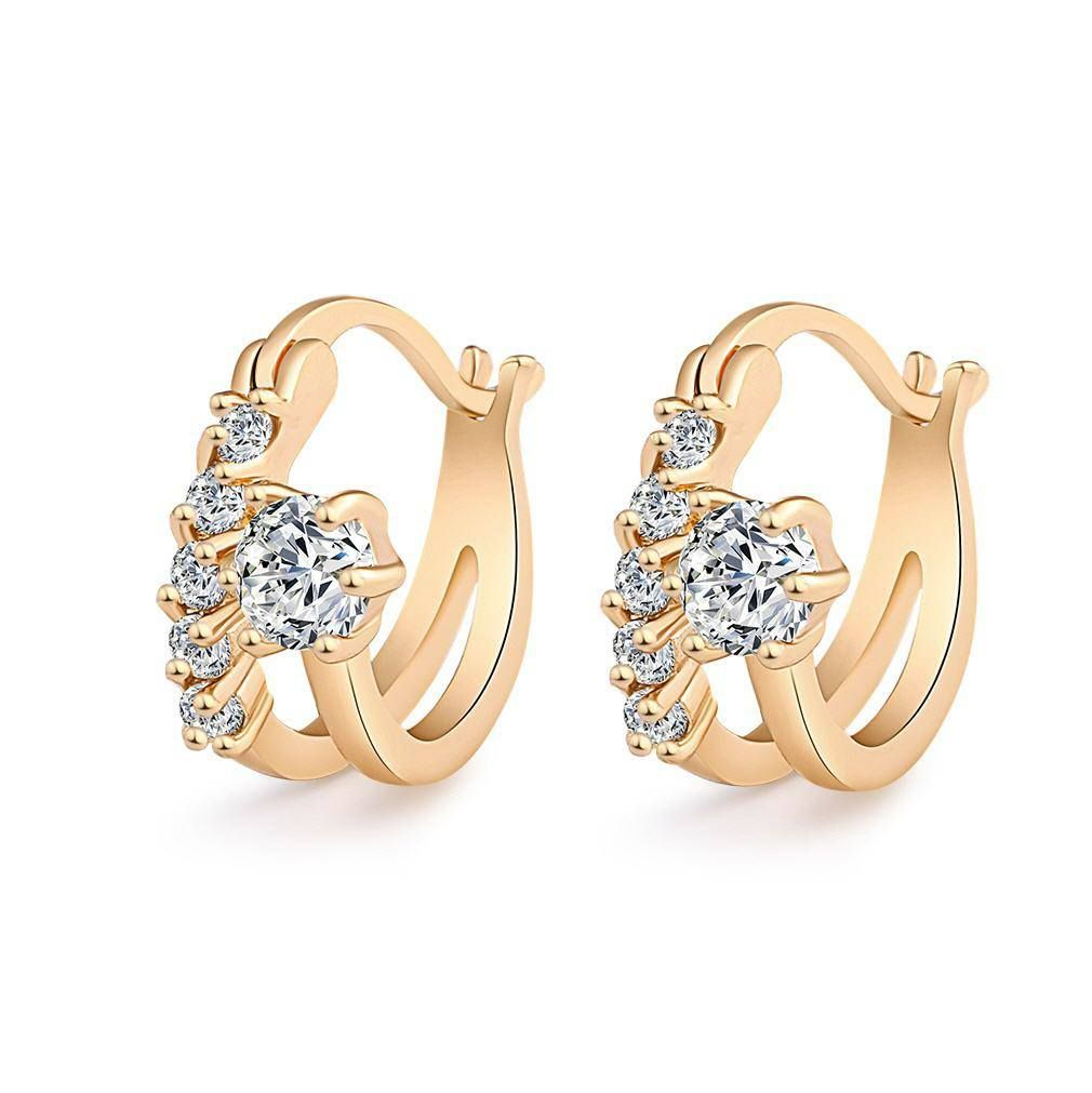 aa79651174382 Sexy CZ stone Hoop Earrings Girls Gold plated Hoop Earrings ...