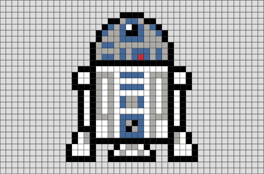Star Wars R2 D2 Pixel Art Cross Stitch Tiny Pinterest Pixel