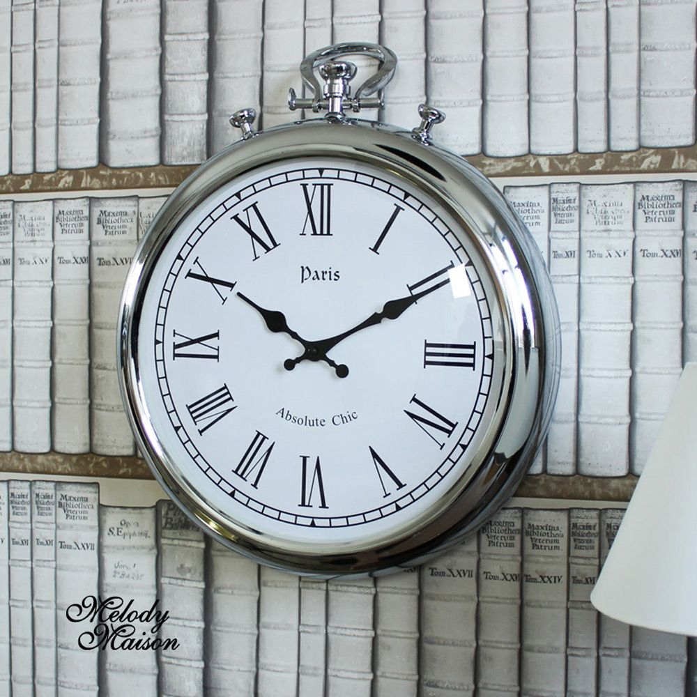 Silver Metal Stopwatch Style Wall Clock A Stylish Wall Clock In A