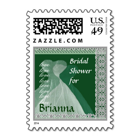 bridal shower postage stamp green dresses