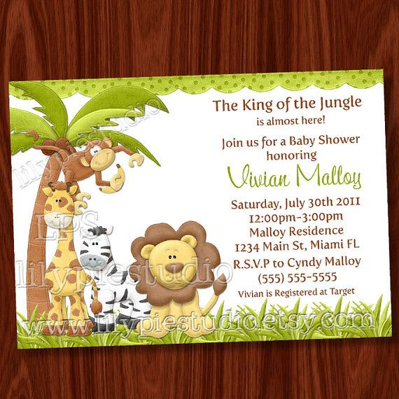 Possible invitaiton jessicas baby shower pinterest shower king of the jungle baby shower invitation by lilypiestudio on etsy stopboris Choice Image