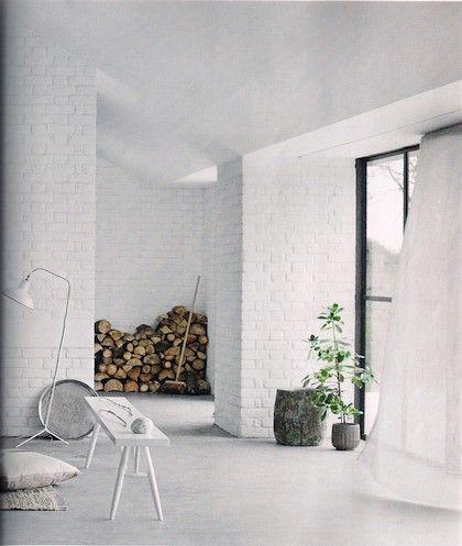 Ditte Isager White Brick Walls House Interior White Interior