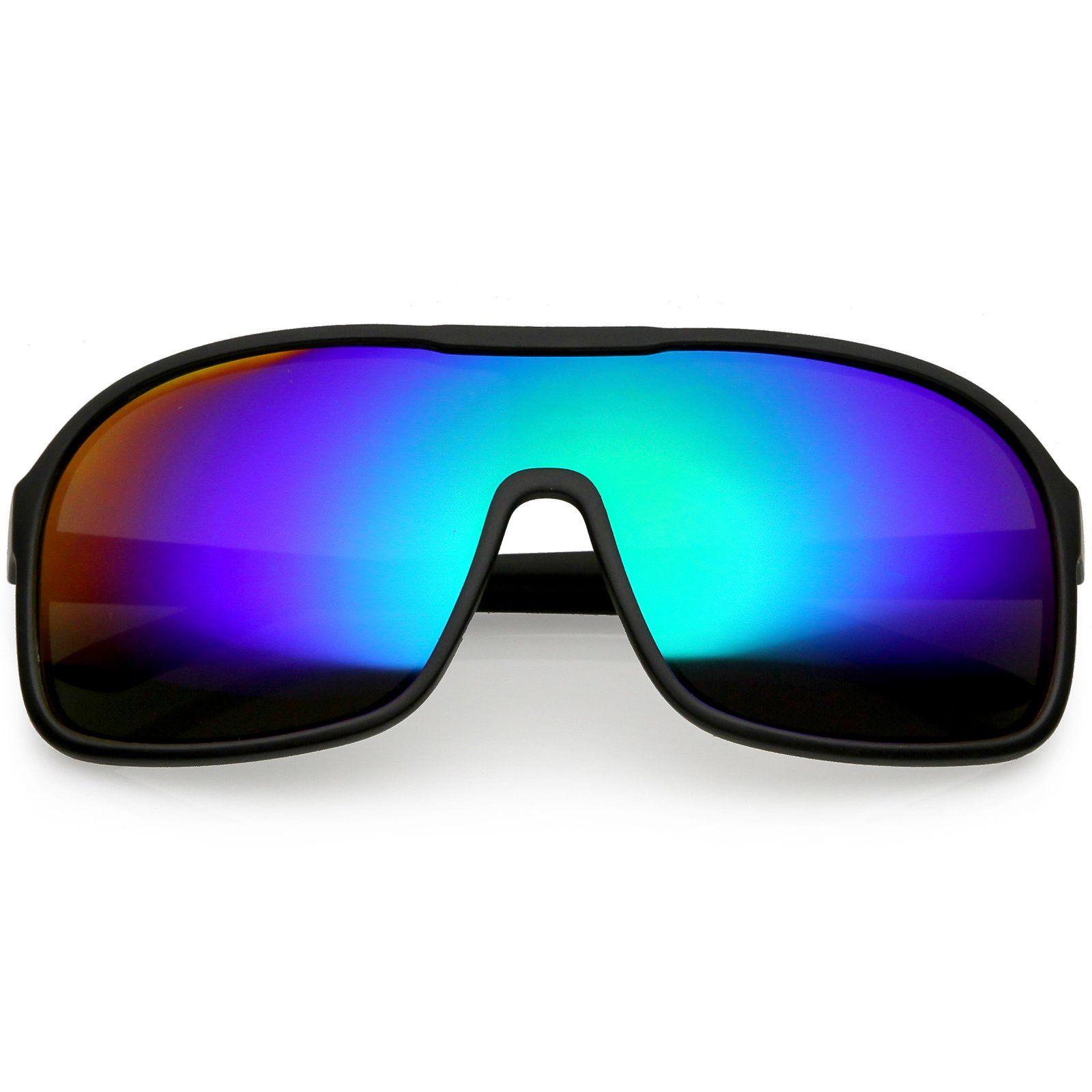 41d3b617ac Oversize Flat Top Sporty Shield Sunglasses Color Mirrored Lens 63mm  frame   sunglasses  sunglass  mirrored  cateye  summer  bold  womens  purple   oversized