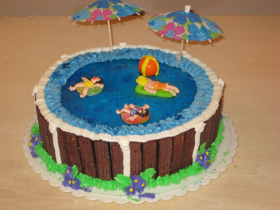 swimming pool filled with blue jello to look like water cookies for siding