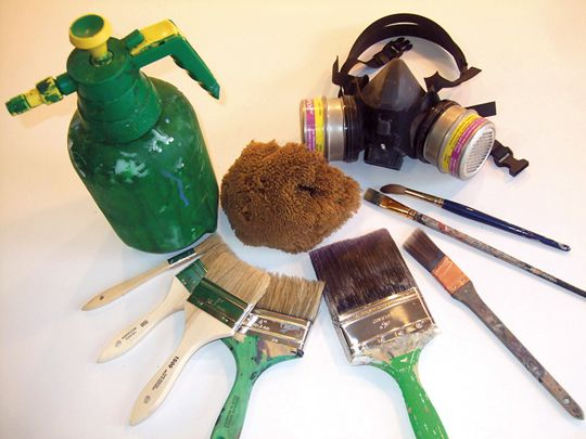 A Hand Held Garden Sprayer A Sea Sponge A Respirator A Few Watercolor Brushes A One Inch Purdy Sash Brush A Four I Set Design Theatre Drama Ideas Painting