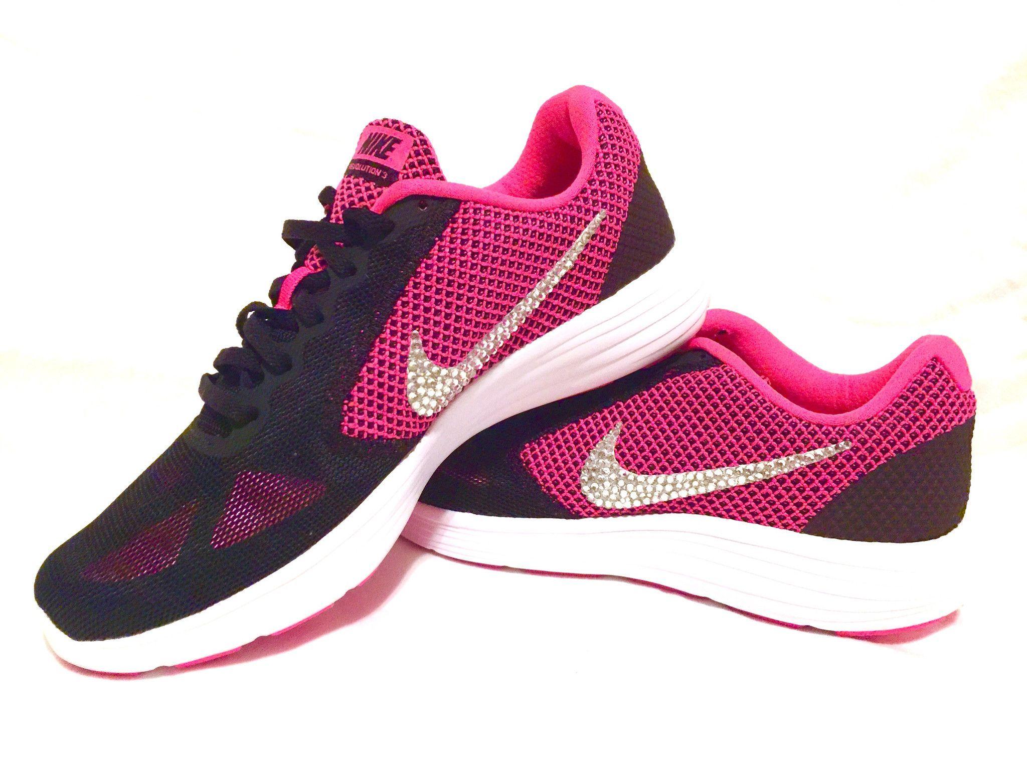 Custom Bling Womens Nike Revolution 3 Pink Black Swarovski Crystal Bling  Sneakers 11e4ee4b2