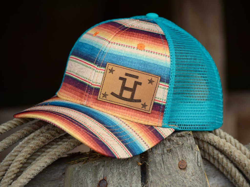Rocking Bar H Rancher's Wife Teal Serape Hat