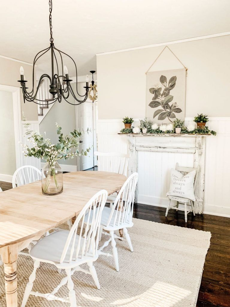 Simple Spring Mantel & Dining Room