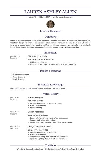 Interior Designer Resume Example Resume Design Resume Online Resume
