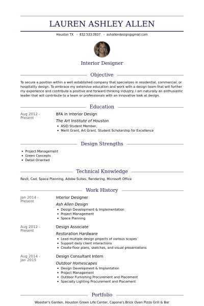 Interior Designer Resume Samples Visualcv Resume Samples