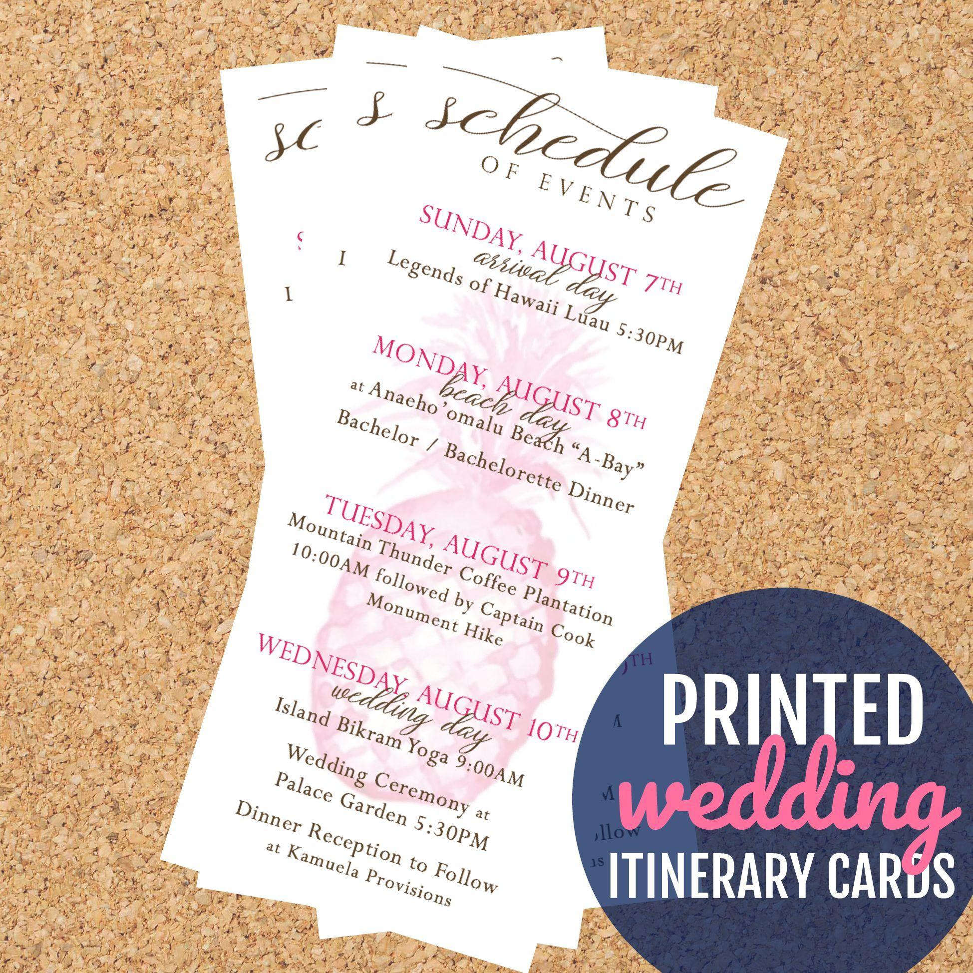 Hawaii wedding itinerary cards printed pineapple wedding