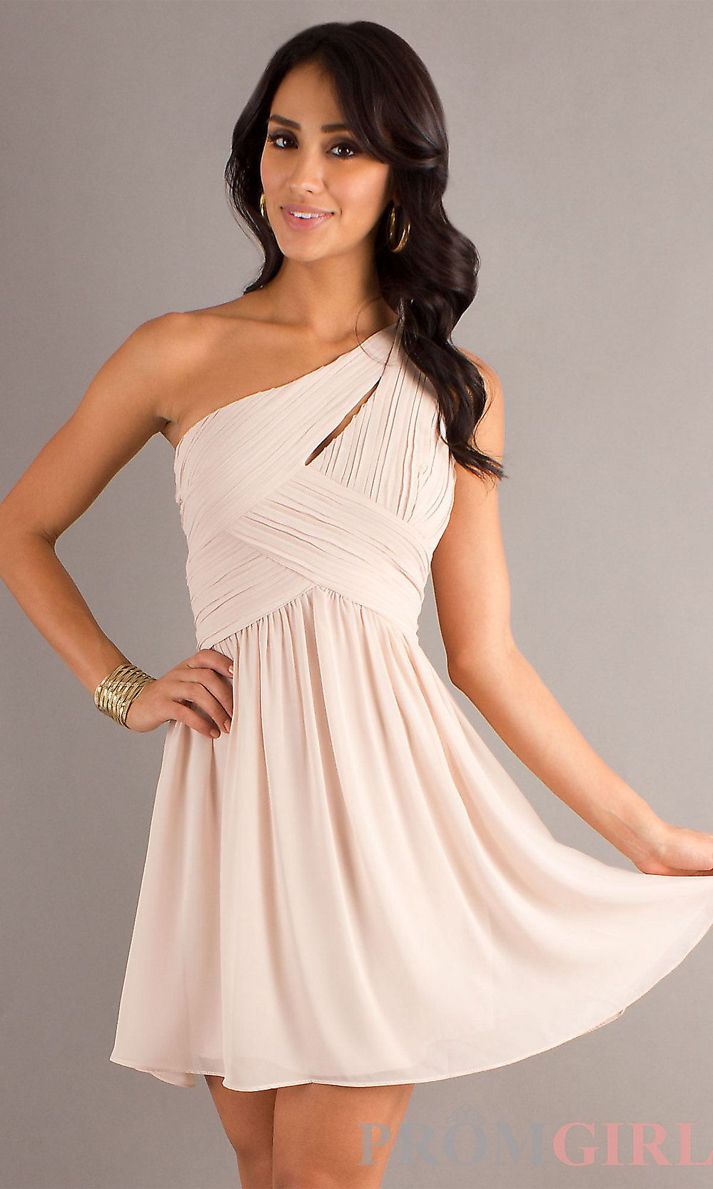 One Shoulder Short Champagne Nude Party Dress | Champagne, Prom ...