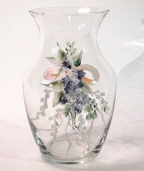 Hand Painted Glass Vase By Merrytoday On Etsy 1500 Wedding