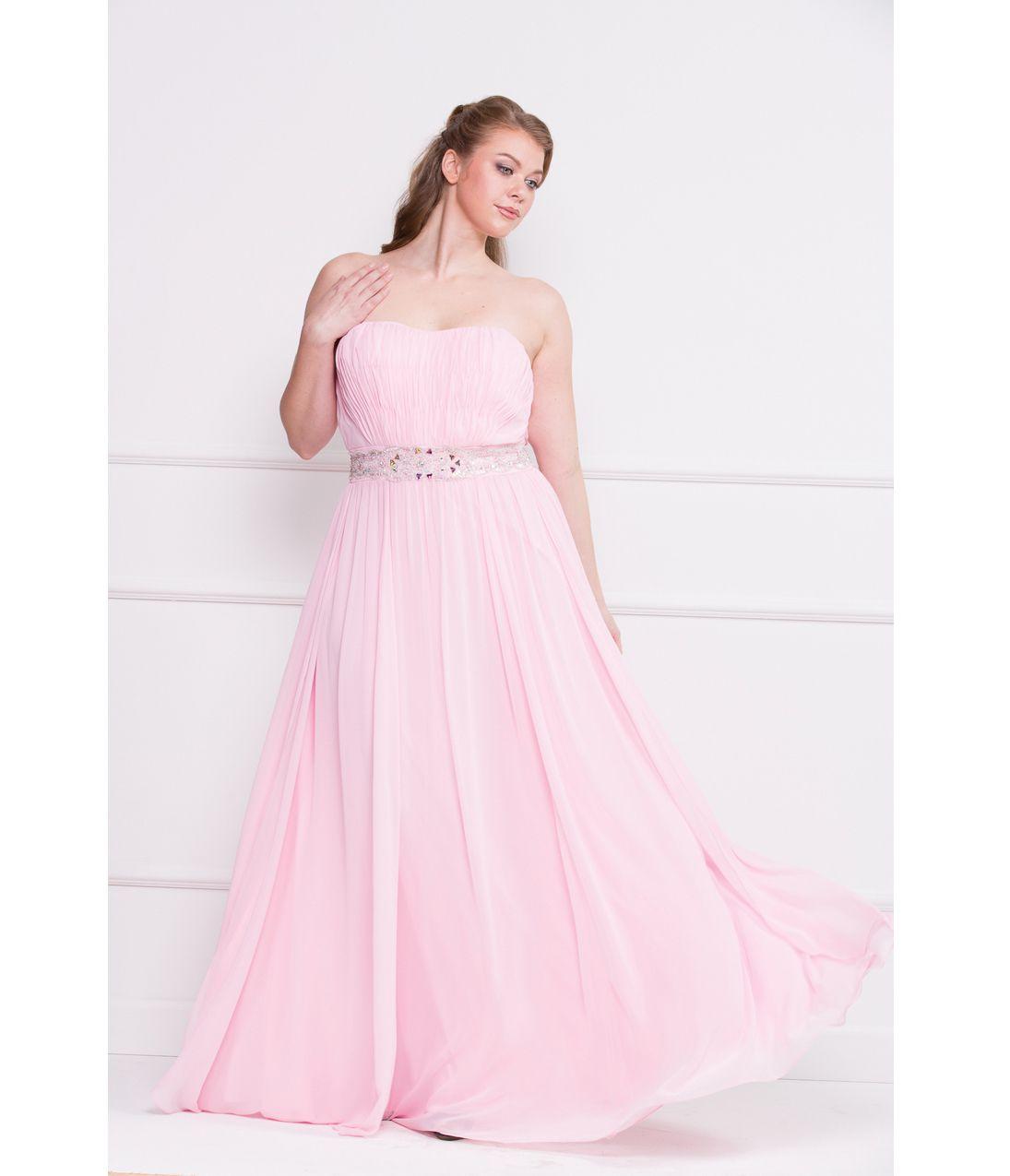 Pink Strapless Chiffon Plus Size Prom Dress. Unique Vintage ...