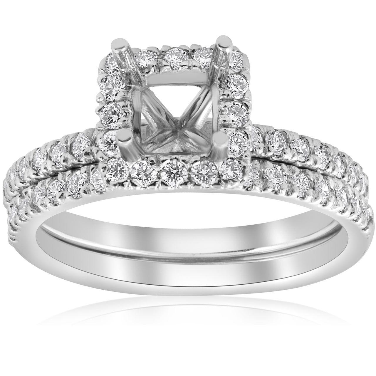 Bliss 14k Gold 5/8ct Princess Cut Diamond Halo Engagement Ring Setting Matching Band