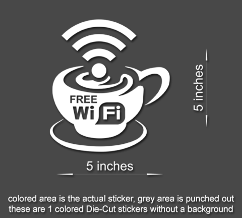 FREE WI FI SIGN Sticker Cafe//Business//Office//Window//Door//Coffee shop style 3