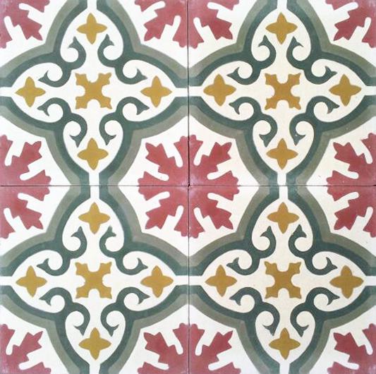 Handmade Cement Encaustic Tiles Floral Spanish Design