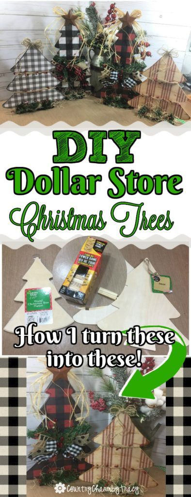 DIY Dollar Store Christmas Trees ~ {Country Charm} by Tracy #dollarstorechristmascrafts