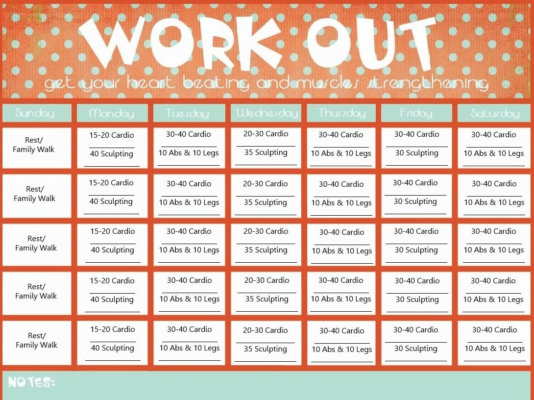 Blank Printable Workout Calendar Template | Calendar | Pinterest ...