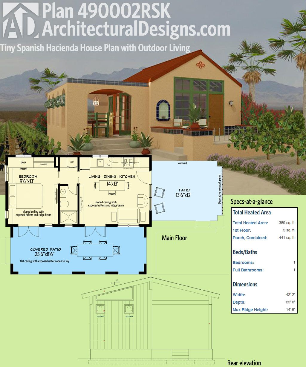 Architectural Designs Tiny House Plan 490002rsk Is Modeled After The Spanish Style Hacienda It G Mediterranean House Plans Diy House Plans Cottage House Plans