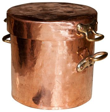 Large Copper Pot with Lid and Castellated Joints traditional