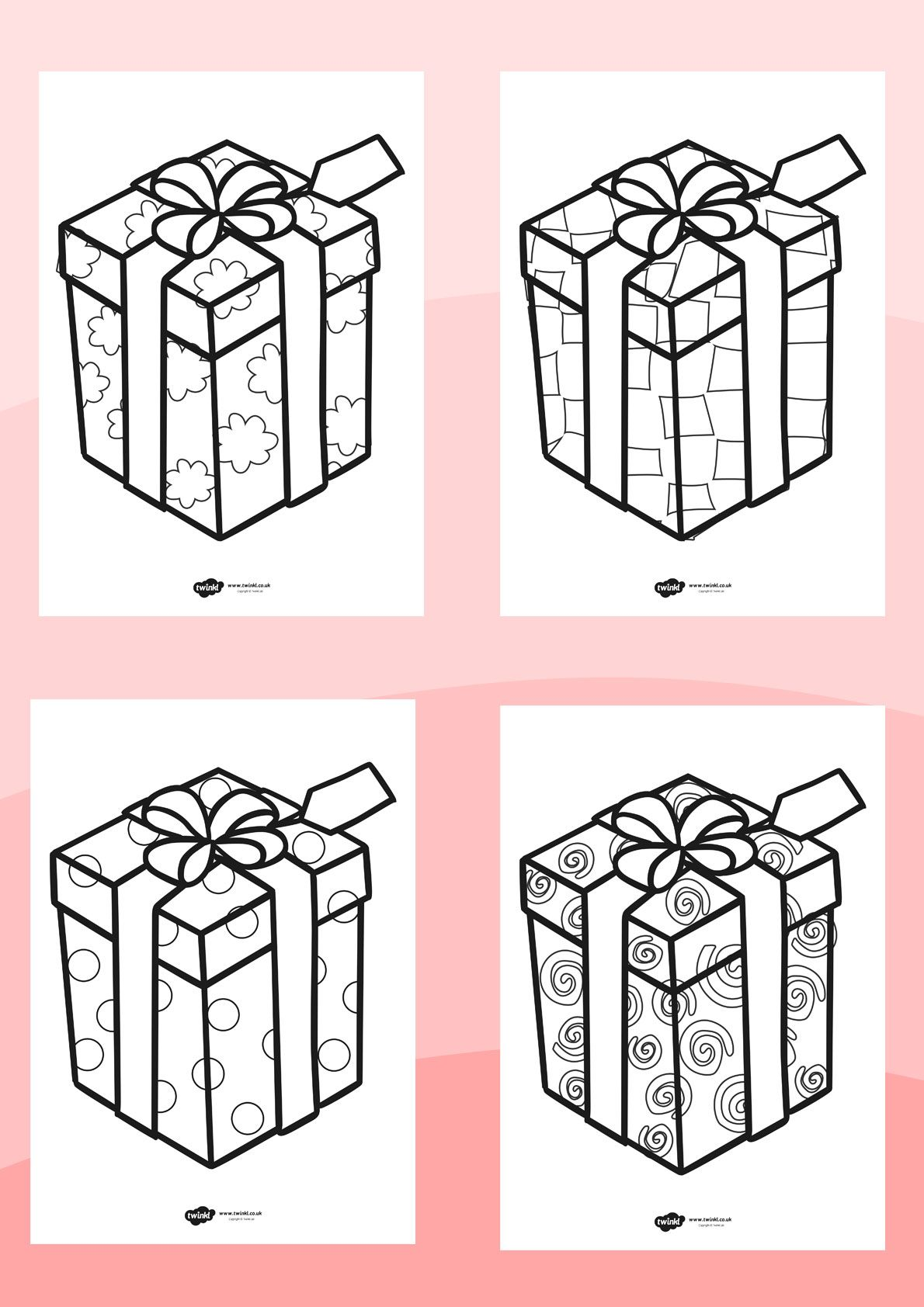 Twinkl Resources Patterned Presents Colouring Sheets Printable Resources For Primary Eyfs Ks1 And Sen Coloring Sheets Christmas Activities Presents