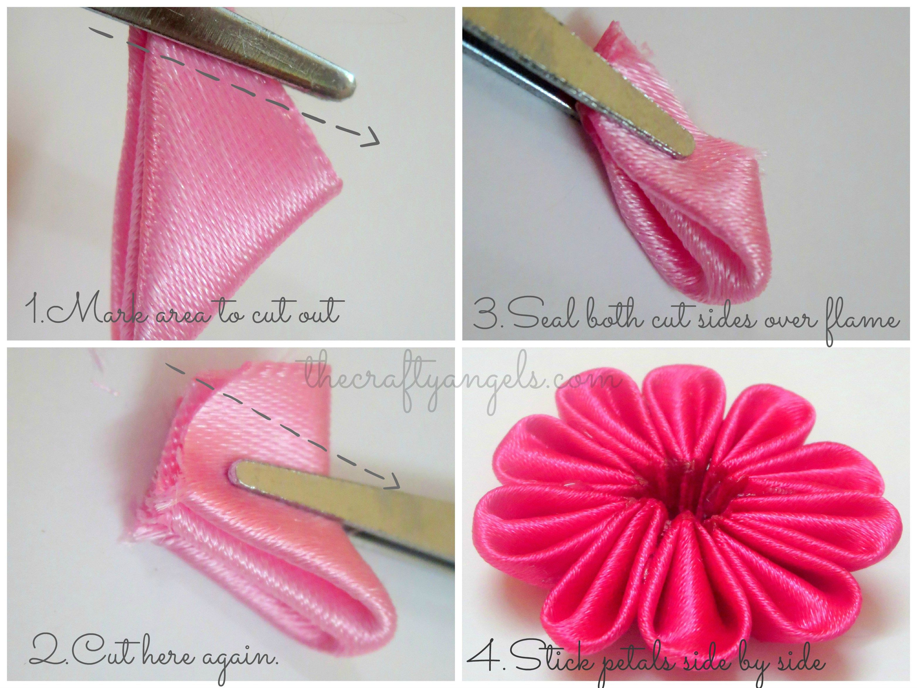 Kanzashi ribbon flower tutorial  (1)                                                                                                                                                                                 More #ribbonflower