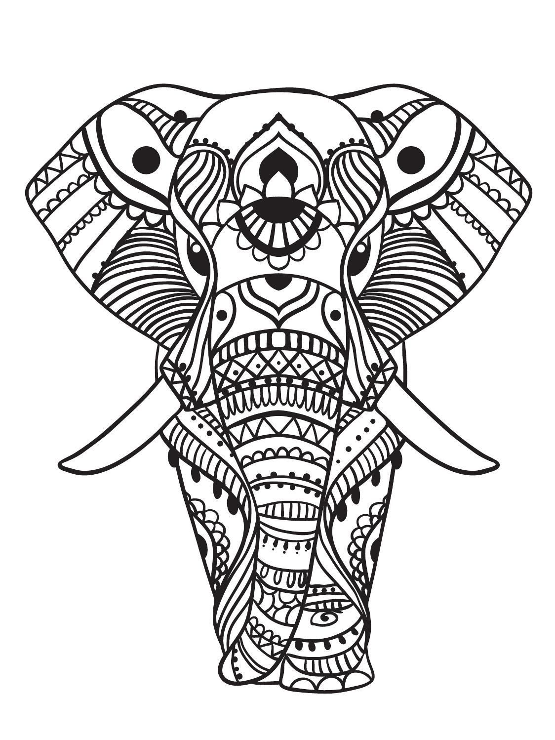 Color Mind Nº2 Elephant coloring page, Mandala coloring