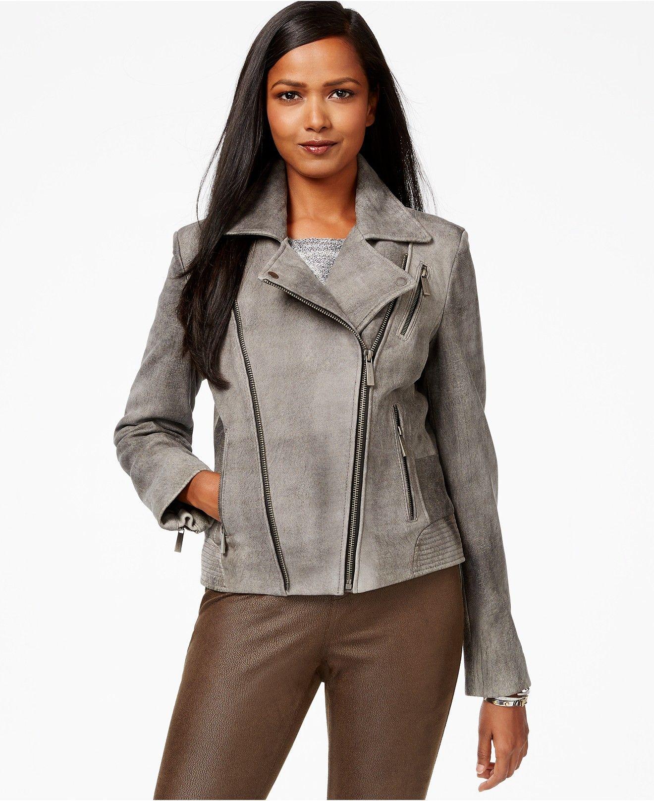 MICHAEL Michael Kors Distressed Leather Moto Jacket