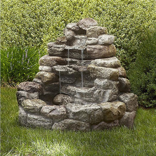 Superieur Outdoor Large 3 Tiers Lighted LED Fountain Garden Rock Waterfall Yard Patio