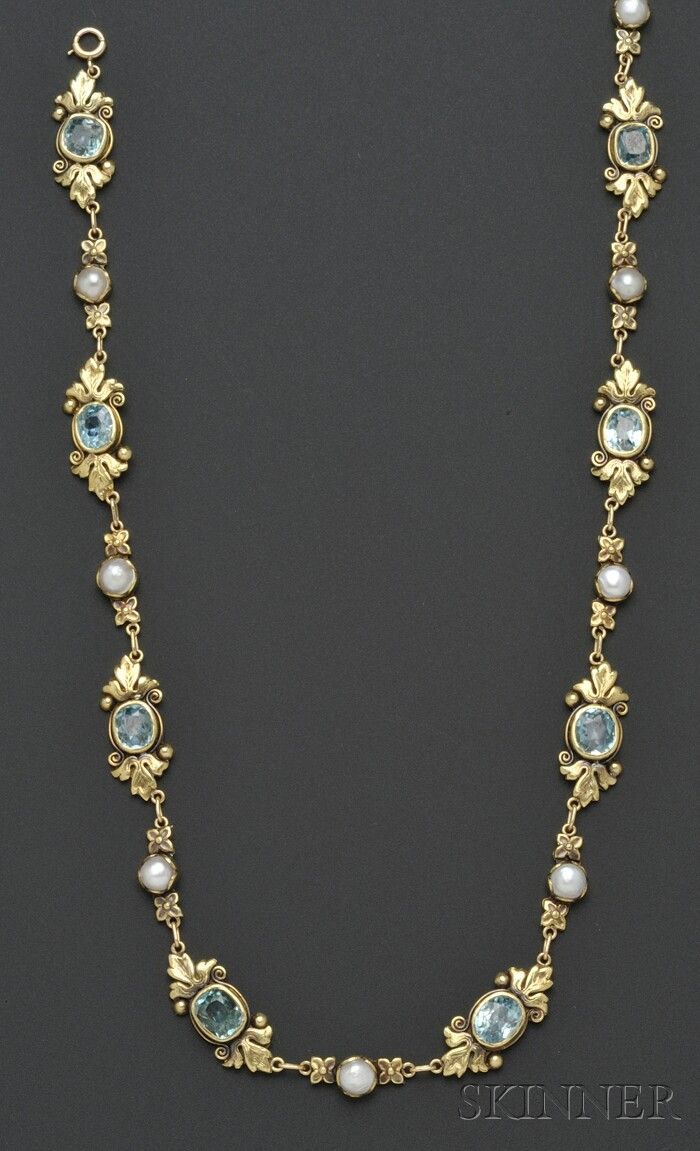 Arts u crafts kt gold blue zircon and split pearl necklace
