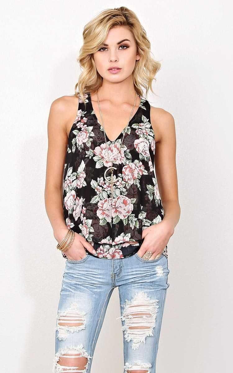 #FashionVault #styles for less #Women #Tops - Check this : Spring Bouquet Woven Tank - - Black Combo in Size by Styles For Less for $22.99 USD