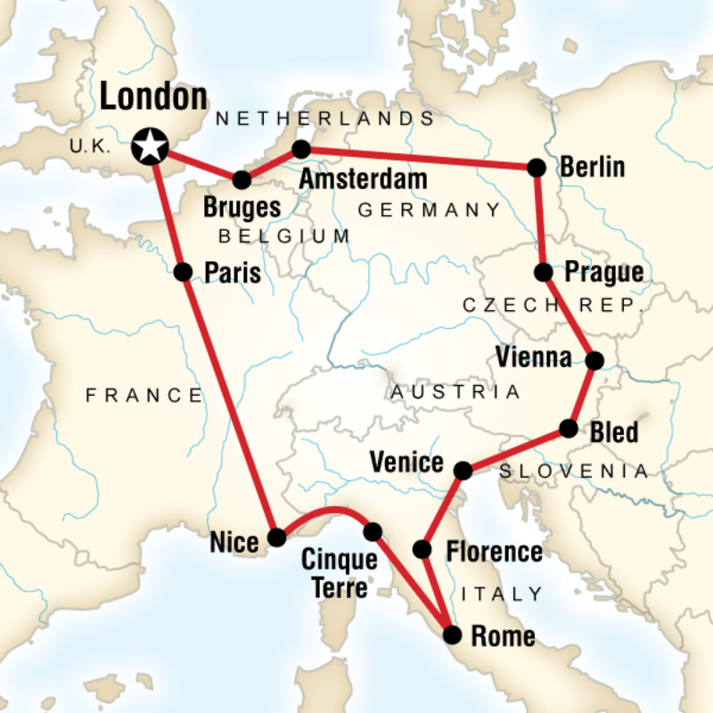 map of the route for austria belgium czech republic france germany italy netherlands slovenia united kingdom