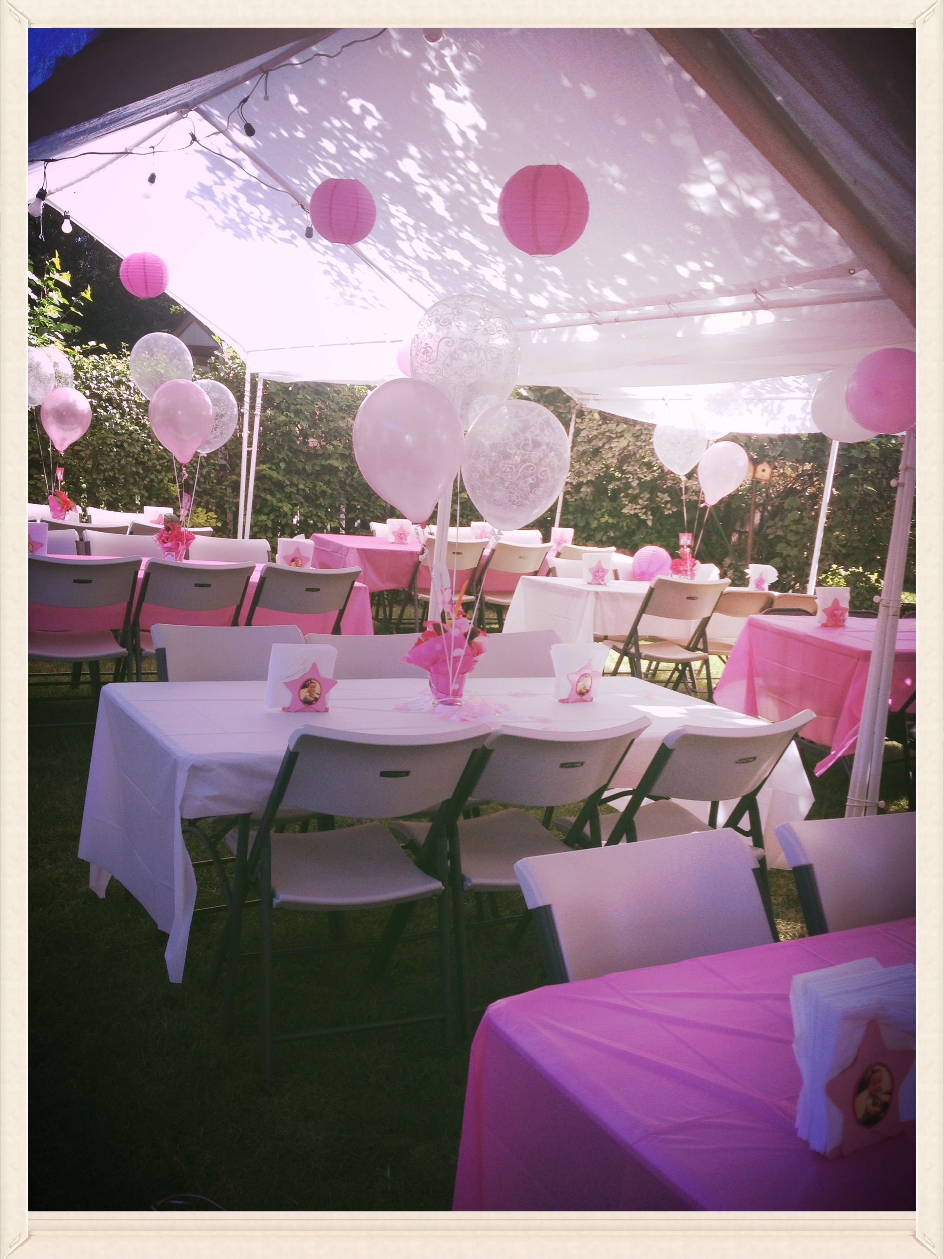 Mia izabella 39 s baptism party decorations pinterest for Outdoor party tent decorating ideas