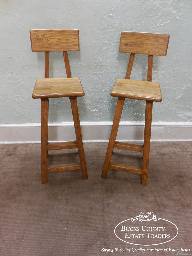 Quality Pair Of Solid Elm Wood Rustic Bar Stools Rusticprimitive