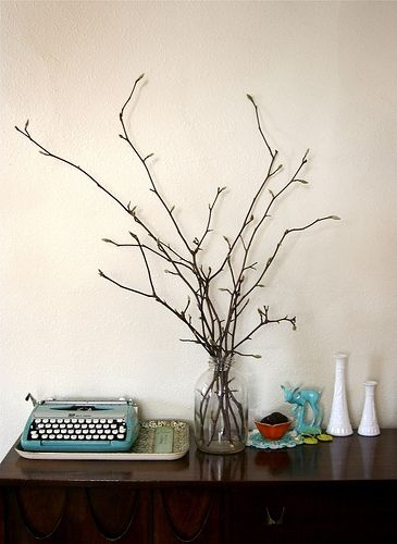 Branches In A Vase Easy So Simple Love The Old Typewriter