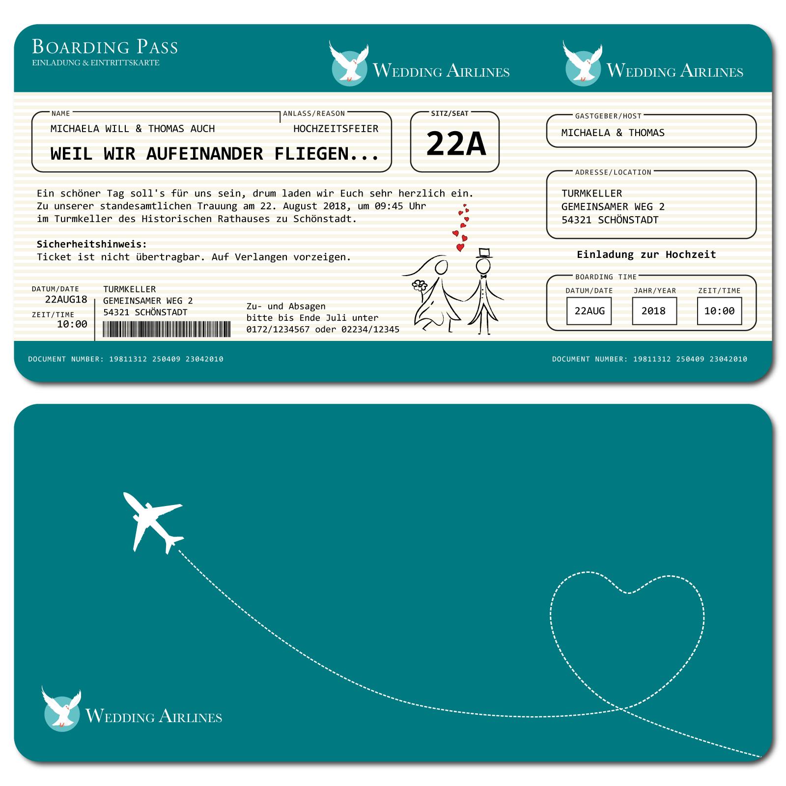 einladungskarten zur hochzeit als flugticket – türkis, Einladung