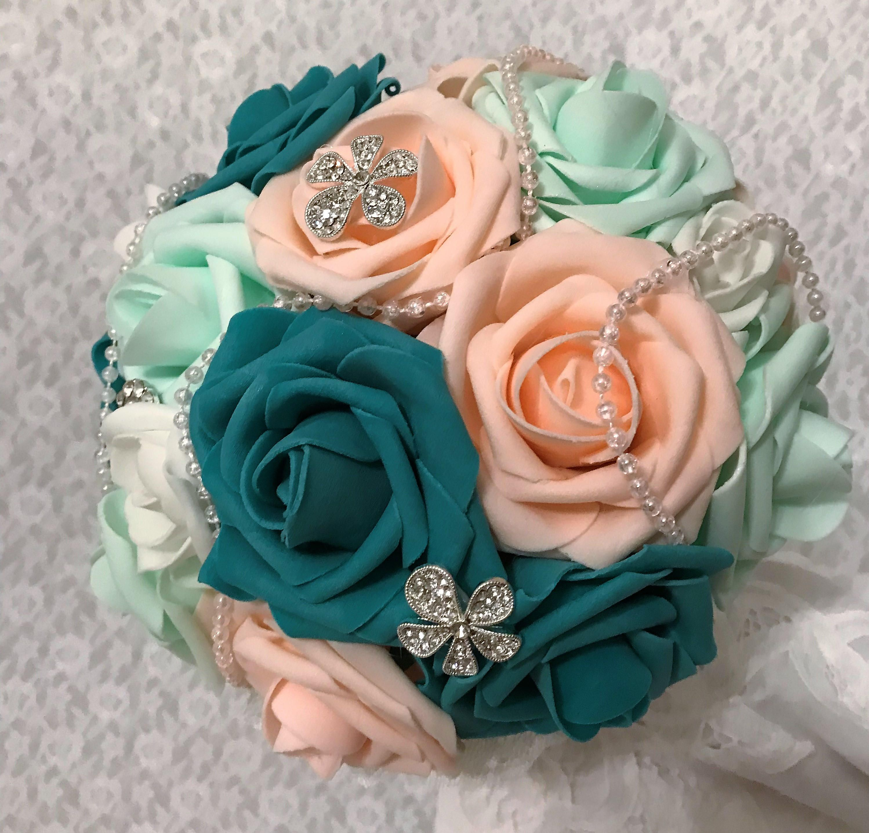 Brooch bouquet bridesmaid bouquet quinceanera bouquet with teal brooch bouquet bridesmaid bouquet quinceanera bouquet with teal mint pale peach and mightylinksfo