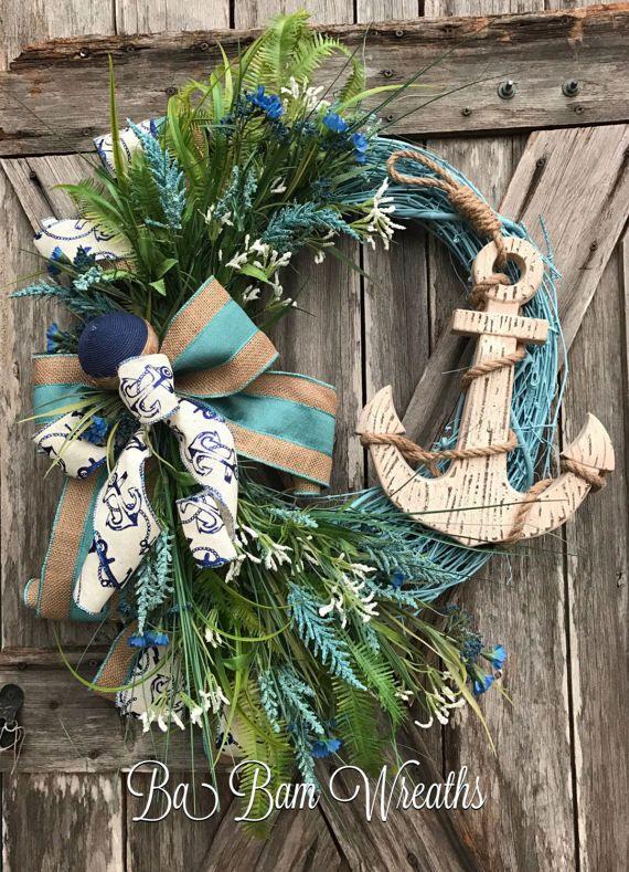 Anchor Wreath Nautical Wreath Beach Wreath By Babamwreaths On Etsy