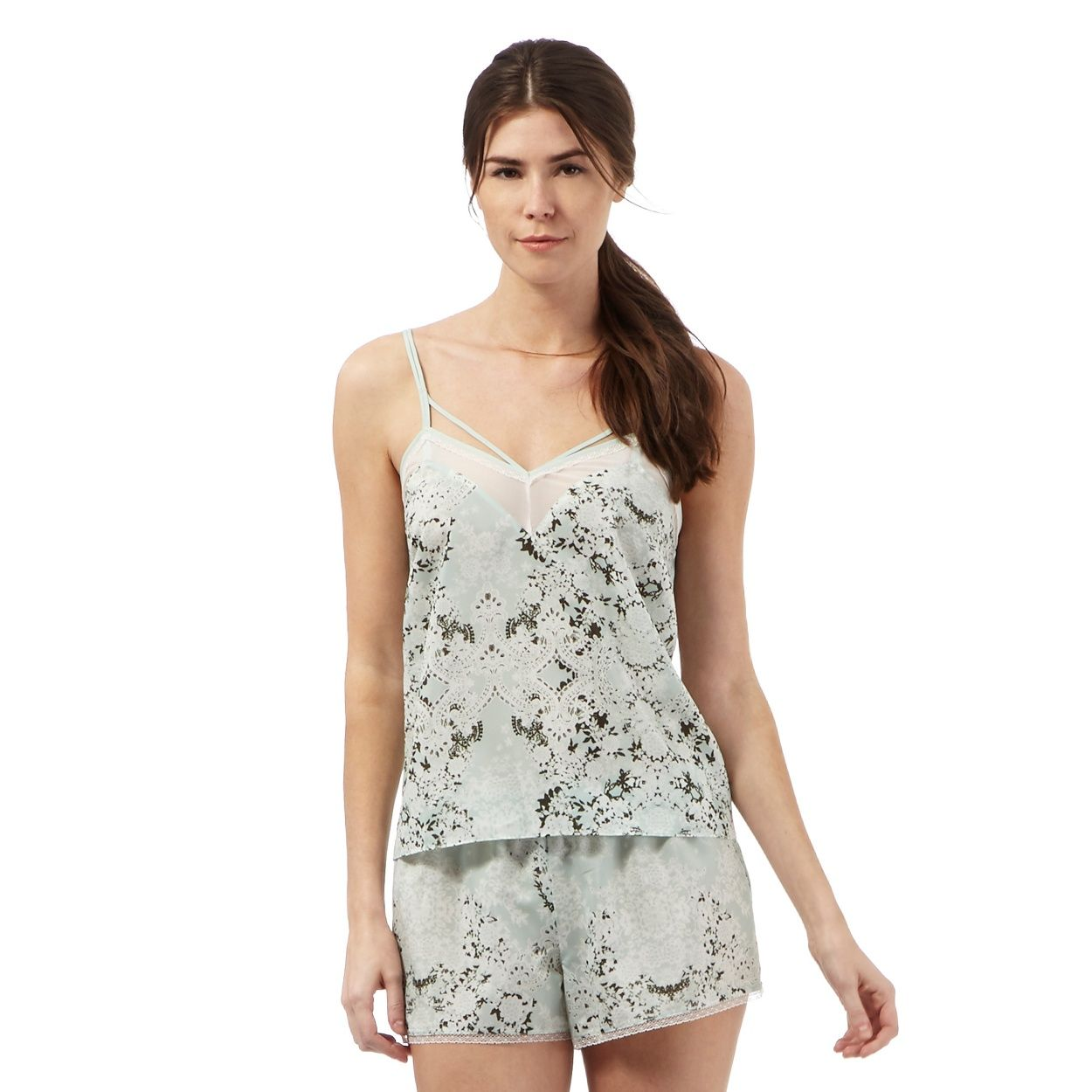 From the 'Nine' collection by Savannah Miller, this camisole will add a stylish touch to nightwear collections. Made from luxurious satin with a lace trim, it features a delicate floral-inspired print while the loose-fitting shape ensures a flattering and comfortable fit. Team with the matching shorts or add plain pyjama bottoms for a more pared-back look.