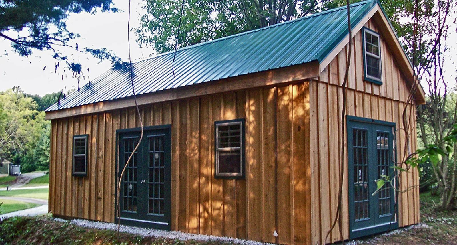 Pine Board Batten Garages Horizon Structures Cabin 1 Colors But With White Windows Ok Wooden Garage Rustic Shed Shed