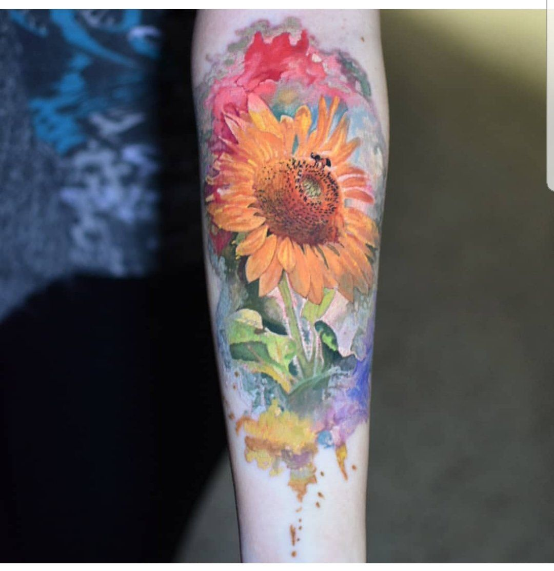 My Watercolour Sunflower Done By The Amazing Benoit Delongchamp